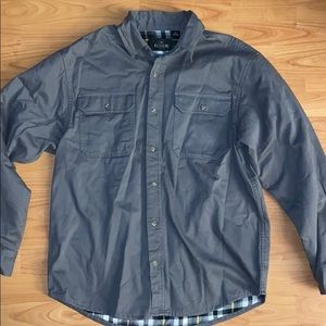 Men's Grey Lined Button Down Shirt